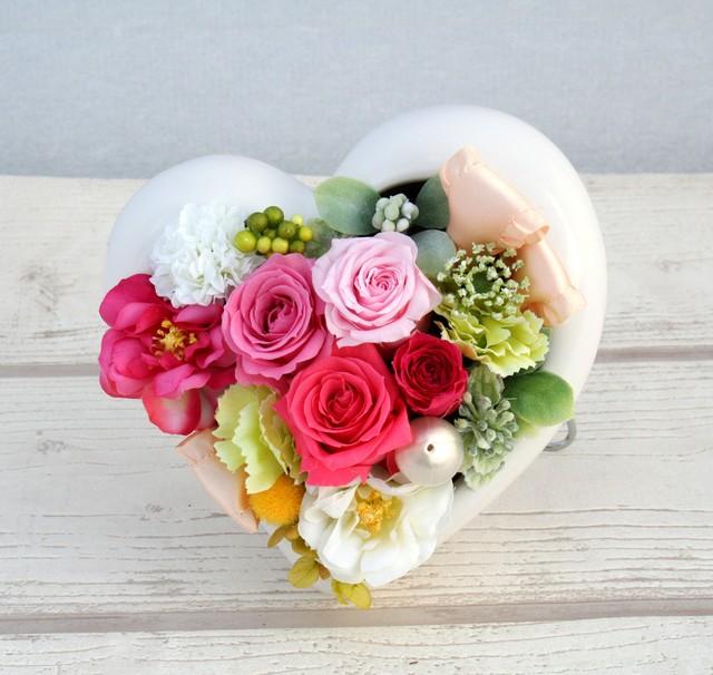 ~FLOWER GIFT~ 母の日♪♪2WAYタイプピンクローズハートアレンジ