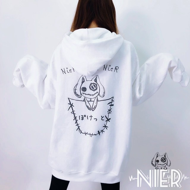NieR FAKE POCKET WHITE PARKA