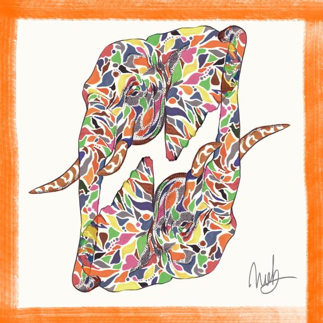 絵画 インテリア アートパネル 雑貨 壁掛け 置物 おしゃれ 象 ゾウ 動物 現代アート ロココロ 画家 : nob 作品 : eleph