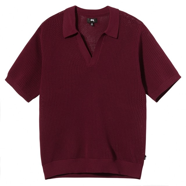STUSSY CABLE MESH SS POLO MAROON