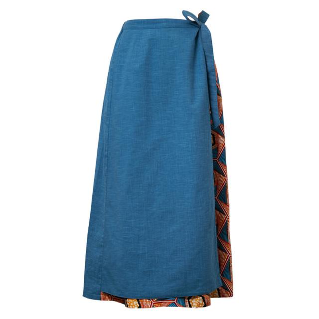 リバーシブル巻きスカート スカイブルー ハニカム (日本縫製) 異素材 2way アフリカンプリント アフリカンファブリック フリカンバティック アフリカ布 ガーナ布