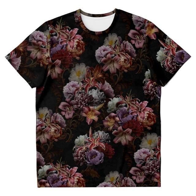 和柄牡丹家紋と蝶家紋 黒 ユニセックスTシャツ