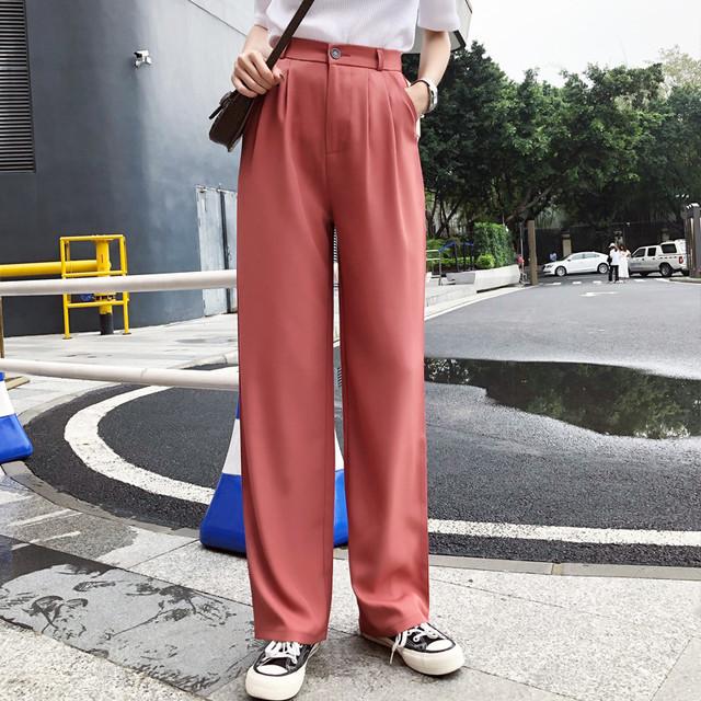 【bottoms】ストレート感満々レディース多色パンツ