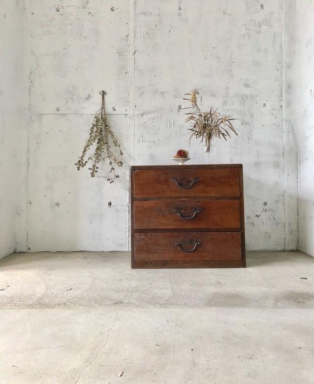 濃い木味の収納棚[古家具]