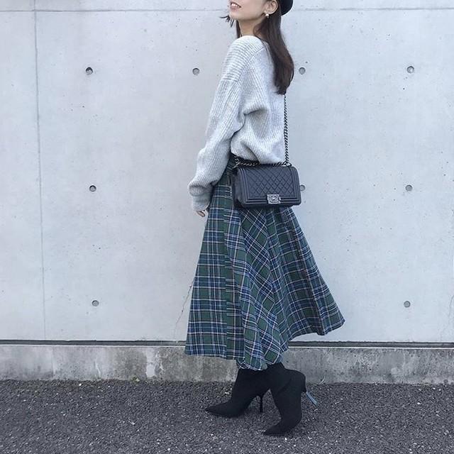 【SPECIAL SALE】 グリーン チェック柄 フレアスカート b70