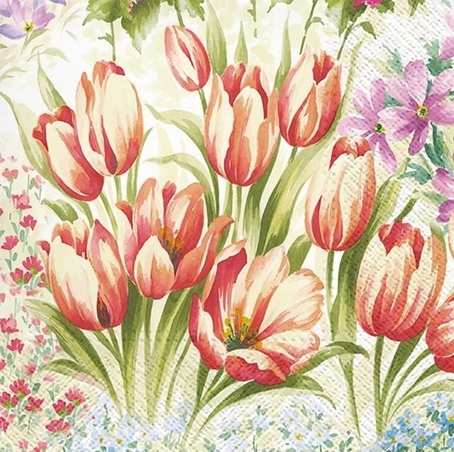 2021春夏【TETE a TETE】バラ売り2枚 ランチサイズ ペーパーナプキン Bright Tulips クリーム