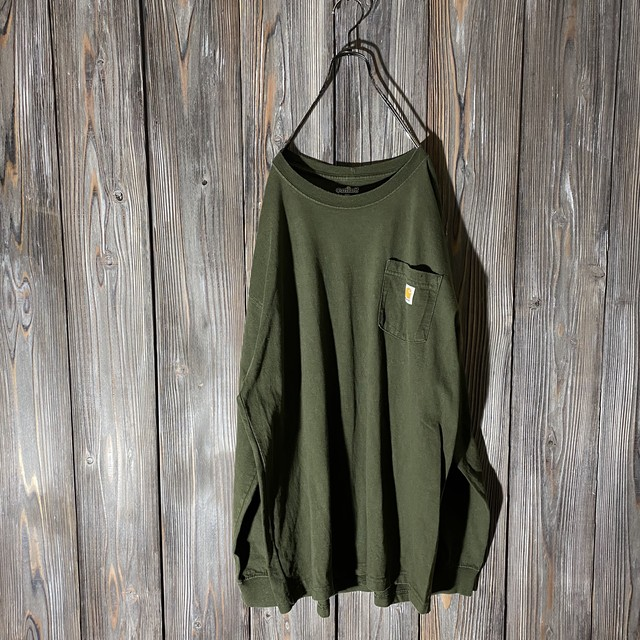[Carhartt]dark green long T shirt