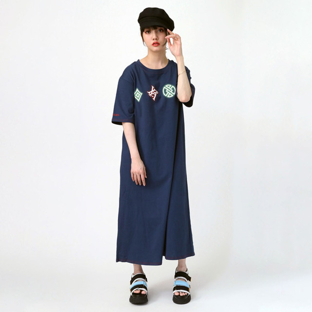 【FLOWER by RADIO EVA 021】EVA Big Monogram Neon T-Shirt Dress NAVY /  EVANGELION エヴァンゲリオン