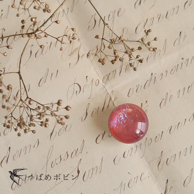 チェコ製ガラス《ドラゴンブレス》の帯留◎ピンク