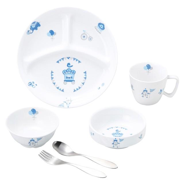 【SET-0055 1300】強化磁器 こども用 食器&スプーンフォークセット シルク