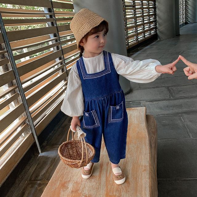 【即納】デニム 刺繍 サロペット サルエルパンツ 春夏 SS 子供服