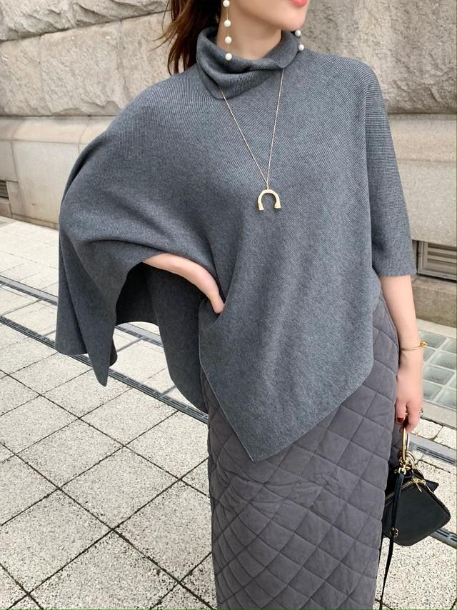 2way knit poncho / grey (即納)