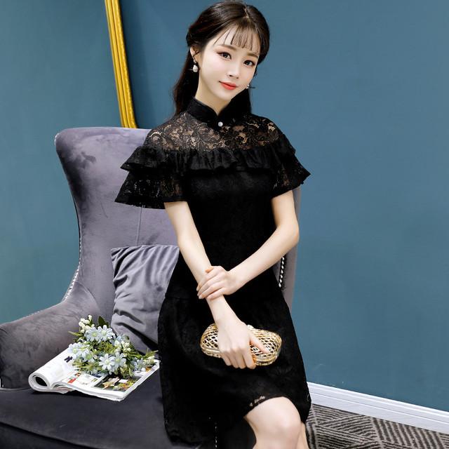 セレブリティ ショート レースドレス チャイナドレス ワンピース 半袖 大きいサイズ S M L LL 3L ブラック 黒い 二次会 改良型 お呼ばれドレス 入園式 婚活