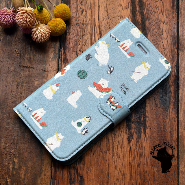 【訳あり】iphone8 ケース かわいい 手帳 アイフォン8 ケース 手帳型 かわいい アイフォン7 ケース 手帳 かわいい シロクマ しろくま スイカを食べよう!/Bitte Mitte!【bm-iph8t-10035-B1】