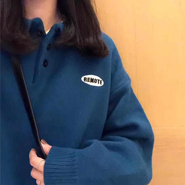 【送料無料】 カラー豊富6color♡ ボーイフレンド ロゴ入り ポロ襟 プルオーバー オーバーサイズ ニット セーター