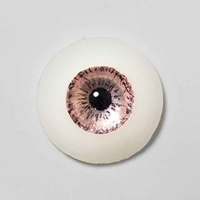 Silicone eye - 15mm Metallic Pale Apricot Pink on Natural Color Sclera
