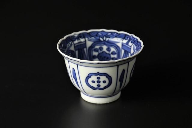 染付芙蓉手輪花小鉢 清水焼