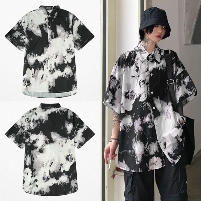 ユニセックス シャツ 半袖 メンズ レディース タイダイ染め 絞り染め オーバーサイズ 大きいサイズ ルーズ ストリート TBN-596235995122