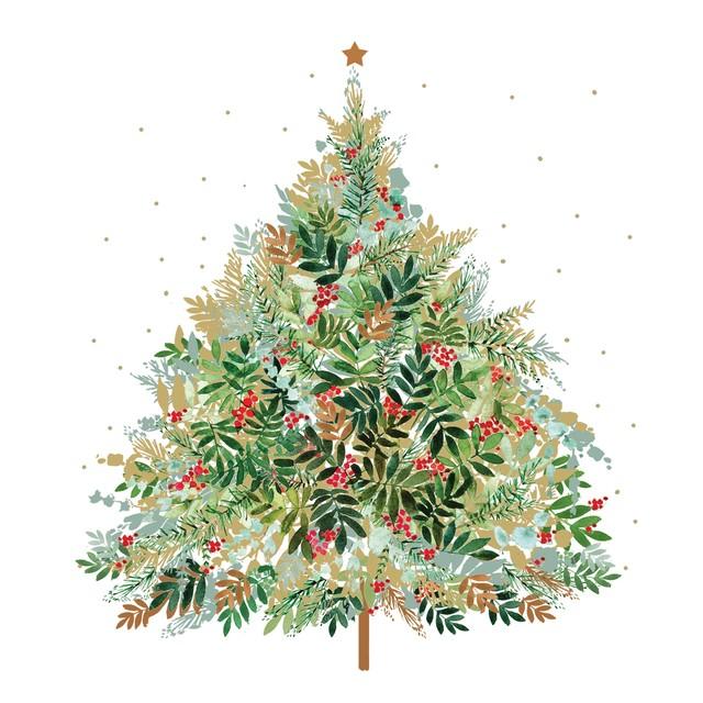 2020秋冬新作【Paperproducts Design】バラ売り2枚 ランチサイズ ペーパーナプキン Christmas Hill Tree ホワイト