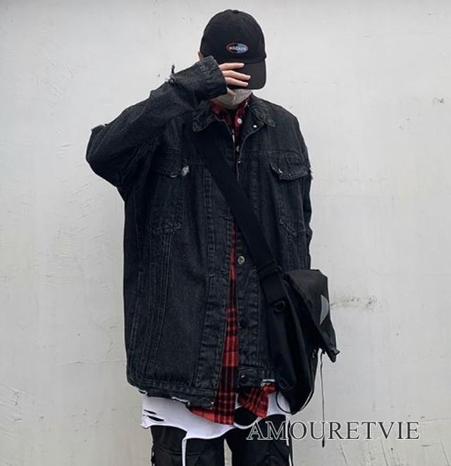 メンズ デニムジャケット ダメージ加工 黒 ブラック レトロ感 原宿系 ストリート ピープス オルチャン 韓国ファッション 1232