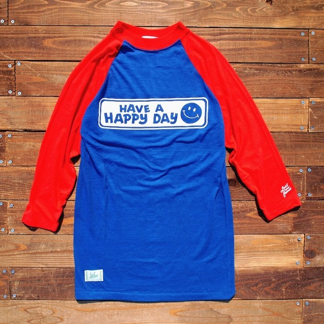 "【LOST AND FOUND】""HAVE A HAPPY DAY"" Vintage Raglan T-shirt (BLUE × RED)"