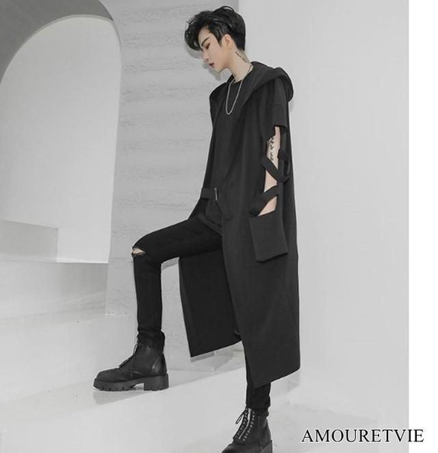 アウター フード付き デザインカット スタイリッシュ モダン シック 黒 ブラック カジュアル ストリート オルチャン 韓国ファッション 1615