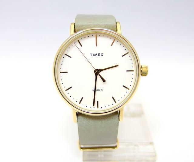 【TIMEX】 ウィークエンダーフェアフィールド レザーベルト37mm(オリーブ)