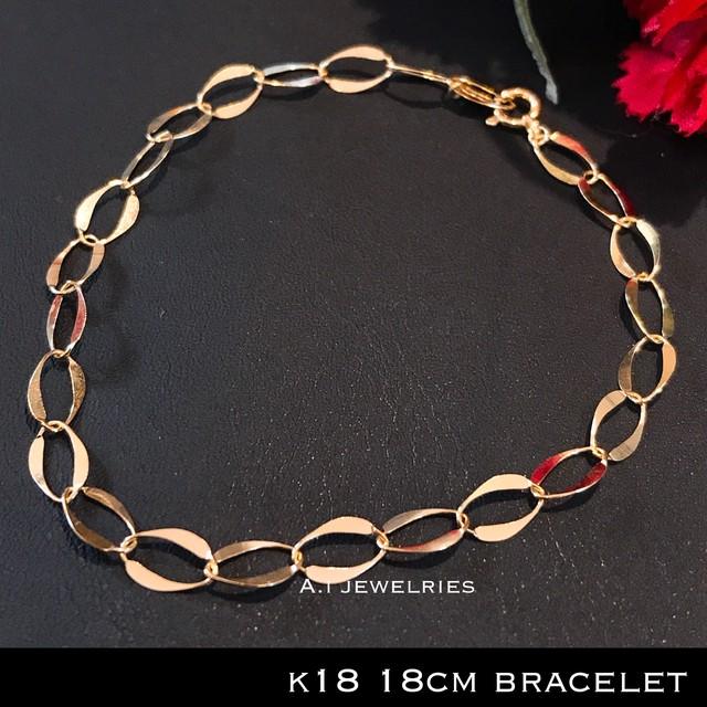 K18 18金 メンズ レディース 男女兼用 チェーン ブレスレット / k18 chain bracelet  18cm
