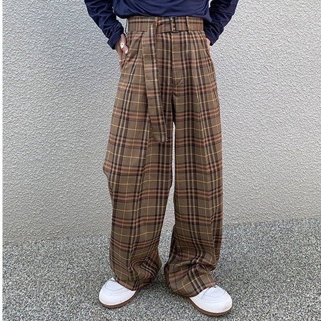 belt wide check pants PD2048