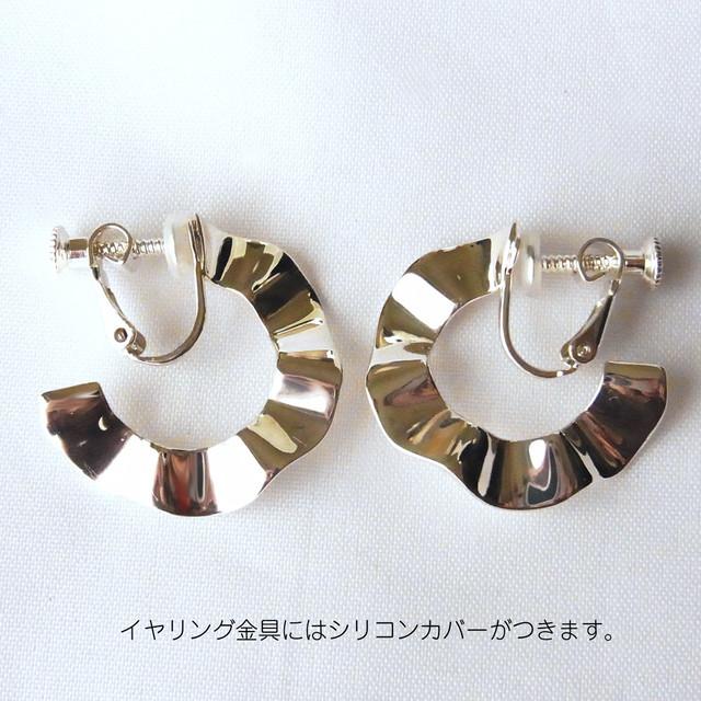 イヤリング:SV925(RP)あこや真珠+天然石4種/Puff