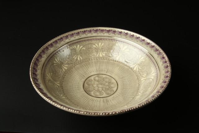 紫三島七寸鉢 清水焼