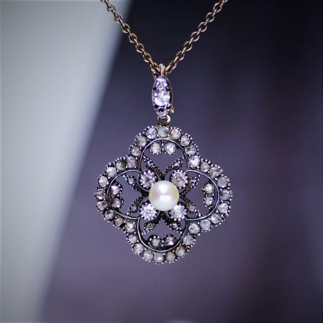 Georgian Quatrefoil Diamond &Pearl Pendant ジョージアン 四つ葉飾り ダイヤモンド&パール ペンダント