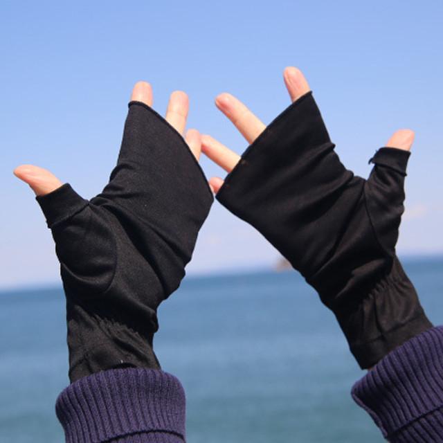 【ハンドソックス】ブラック(黒)/さりげなくウイルス対策できるUVケア手袋/サッと伸ばして手先まで日差しから守る