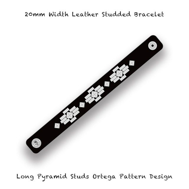 20mm Width Leather Studded Bracelet / Long Pyramid Studs Ortega Pattern Design