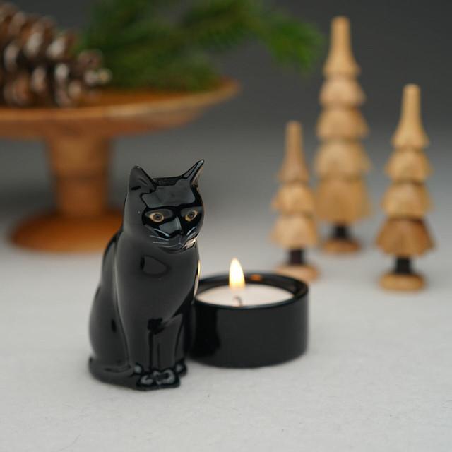 Quail Ceramics  黒猫のキャンドルホルダー