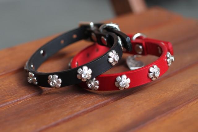 【犬 本革首輪】Dog La FLOWER COLLAR  ドグラ フラワーカラー 1/2inch幅長さ10inch