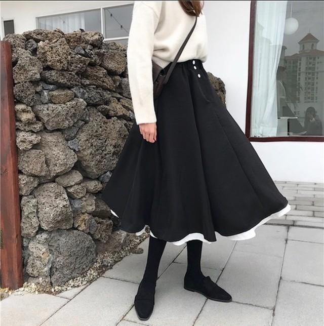 ブラックレイヤードフレアースカート351