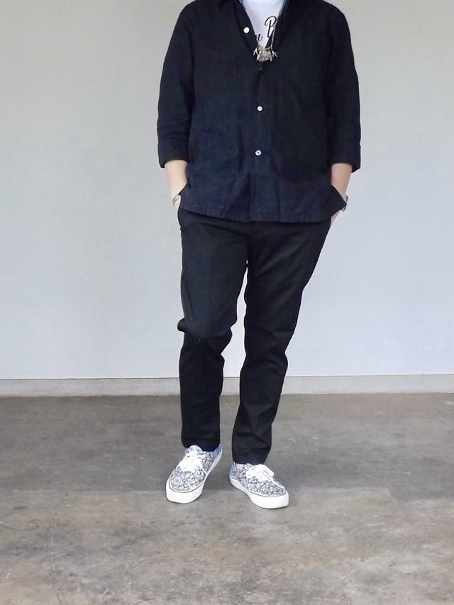 {予約} 5/末入荷  Men's  [cm002-65 ]  ストレッチピケトラウザーズ  黒パンツ, 日本製, アンクルパンツ,メンズ,素材感