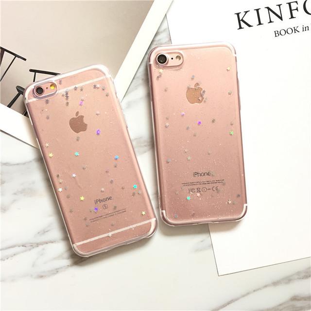 【iPhone12シリーズ/SE2対応】シンプルな星ラメホログラム <クリア>◆スマホケース/iPhoneケース