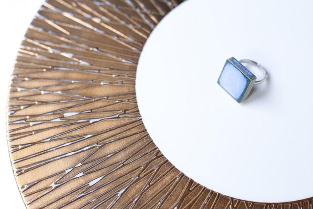 129伝統文化品美濃焼多治見四角タイル指輪・リング(フリーサイズ) ブルーシリーズ001※証明書付