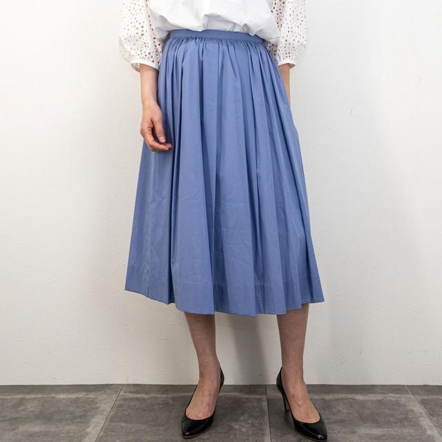【Doneeyu/ドニーユ】綿ボイルタックギャザースカート(ライトブルー)