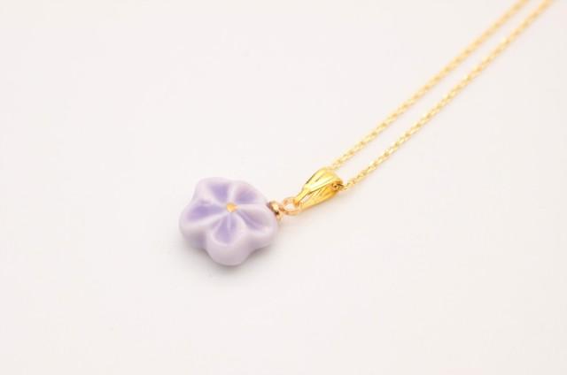 有田焼ネックレス 花 紫