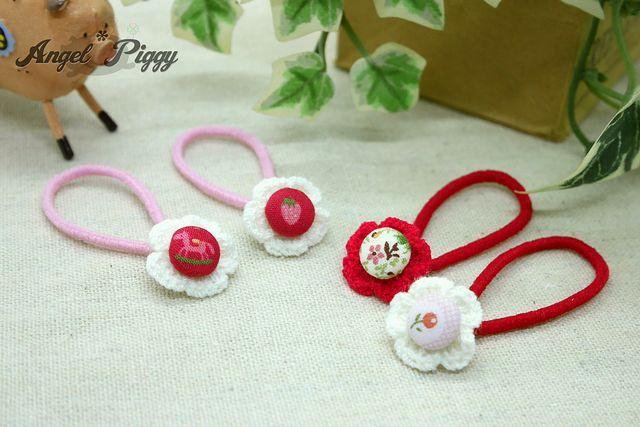 ベビーに♪ 手編みお花とくるみボタンのちっちゃなヘアゴム