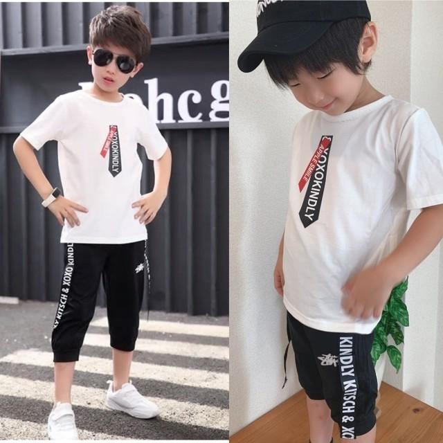 【子供服】男の子 100   110  120  130  140  Tシャツ ボトムス セットアップ セット 韓国 上下 白 ホワイト