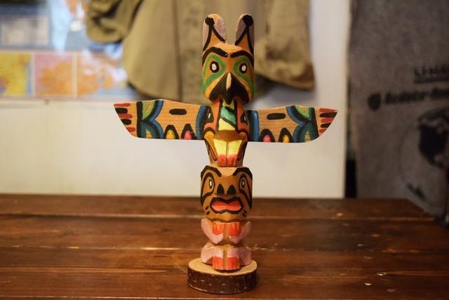 USED Handcraft wooden Totem pole Vintage G0272
