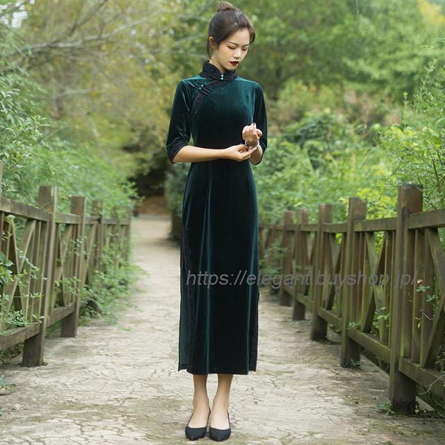 ベルベットチャイナドレス ロングチャイナドレス チャイナ風服 中華服 お呼ばれドレス パーティー 二次会 イブニングドレス 大きいサイズ S M L LL 3L グリーン 緑