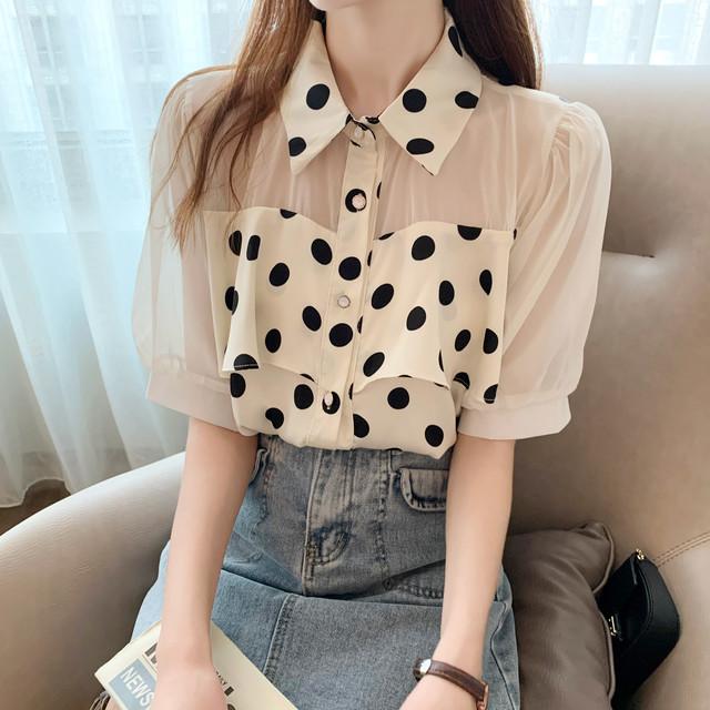【トップス】韓国系半袖シングルブレストPOLOネックシャツ44553718