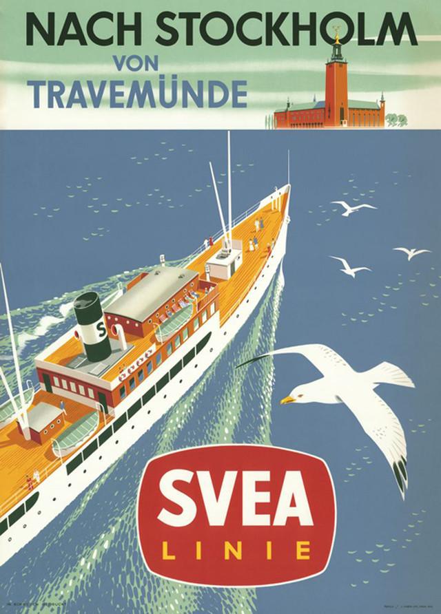 """Come to Sweden カムトゥスウェーデン インテリア レトロポスターB2 """"スべアライン船の旅"""""""