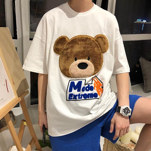 【トップス】キュート立体感有クマプリントファッションストリート系半袖Tシャツ47060743