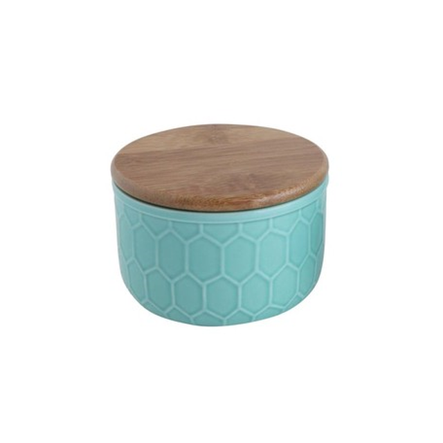 Creative Co-Op Home キャニスター S,Small Stoneware Canister w/ Honeycomb Design & Bamboo Lid